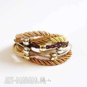 ręcznie wykonane bransoletka - beżowa rzemienie, sznurki
