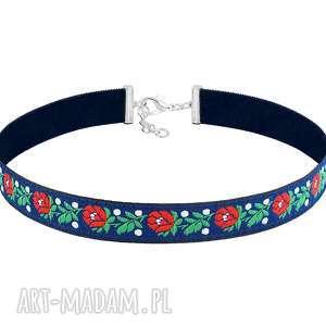 dwustronny choker w kwiatki - folk - taśma, kwiaty, hafty
