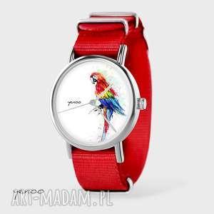 Prezent Zegarek, bransoletka - Czerwona papuga czerwony, nato, zegarek,