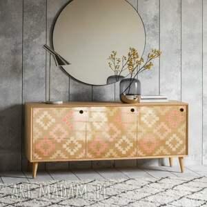 dom curves squares - modna komoda 3 drzwiowa loft w stylu mid century / prl vintage