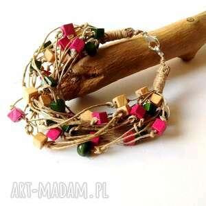 bransoletka na sznurku z drewnem, kolorowa, boho, natura, lniana, drewno