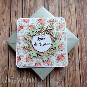 dotyk wiosny ślub imieniny, urodziny, ważka, wianek róże