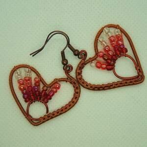 zachód serca - wyplatane kolczyki z koralików i miedzi - koraliki szklane