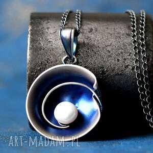 shambala srebrny wisior z perłą naturalną, duży nowoczesny wisiorek