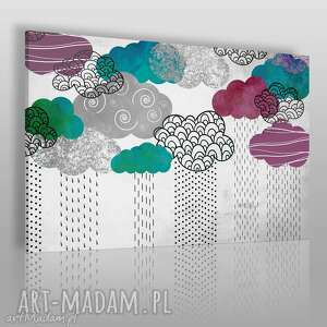 obraz na płótnie - chmury kolorowy 120x80 cm 51201, wzory, chmury, chmurki, deszcz