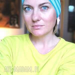 handmade czapki czapka damska szaro niebieska na podszewce rozmiar 56 -57cm, małą głowę