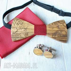 zestaw drewniana muszka poszetka spinki forest czerwona, drewniana, mucha