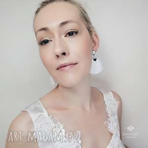 Kolczyki ślubne z chwostem krótkim, ślub, wesele, stal, metal, szkło,
