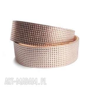 hand made bransoletki bransoletka skórzana owijana różowe złoto
