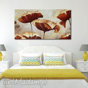 obraz XXL - KWIATY 5 120x70cm na płótnie , obraz, kwiaty, czerwone, pomarańczowe