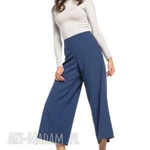 Spodnie z szeroką nogawką, T272, granatowy, spodnie, wysoki, stan, szeroka, nogawka,
