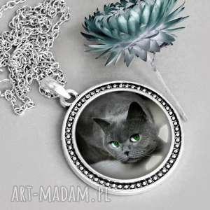 prezent na święta, naszyjniki naszyjnik z kotem w szkle, kociak, pupil-domowy