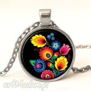 ludowy medalion z łańcuszkiem - czarne naszyjniki prezent, folkowy