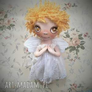 aniołek dekoracja ścienna - figurka tekstylna ręcznie szyta i malowana, słońce