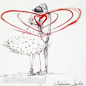 Praca akwarelą i piórkiem JEDNOŚĆ SERC artystki plastyka Adriany Laube, akwarela