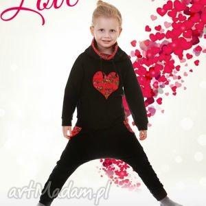 Czarna bluza czerwone serce 122-158, bluza, góralska,
