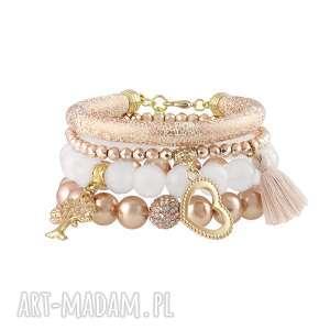 handmade bransoletki zestaw bransolet z naturalnych kamieni i pereł.