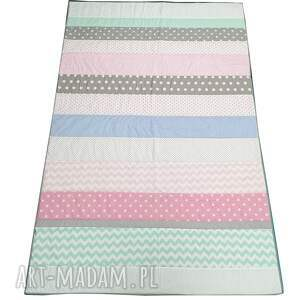 koce i narzuty narzuta patchwork stripes - pastele 145x220cm