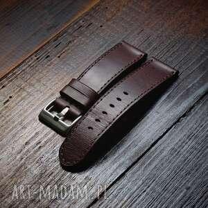 męski pasek do zegarka skórzany z włoskiej skóry buttero ciemny brązowy