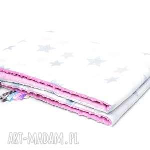 kocyk kołderka 75x100 minky bawełna różowe gwiazdki różowy