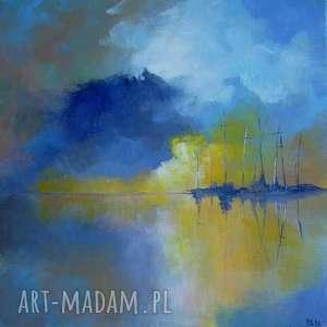 obraz na płótnie - abstrakcja w porcie iii 30/30 cm, abstrakcja, łodzie