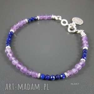 ręcznie wykonane bransoletki delikatna z ametystu i lapis lazuli