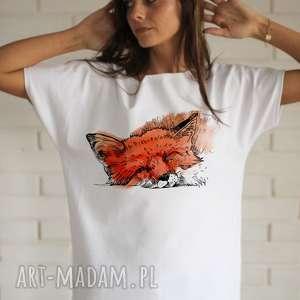 koszulki lis koszulka bawełniana biała z nadrukiem, koszulka, bluzka, nadruk