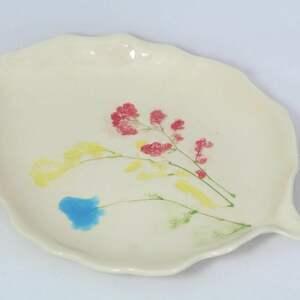 półmisek z ziołami - czerwony, żółty, turkusowy, ceramika artystyczna, patera