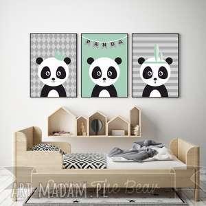 zestaw plakatÓw dla dzieci trzy pandy a4 - panda, mięta, pokoik, obrazek, plakat