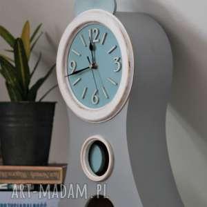 duży zegar stojący z wahadłem - cichy mechanizm, dla dziecka, drewniany