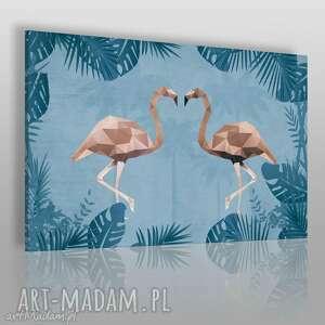 Obraz na płótnie - FLAMINGI NIEBIESKI BEŻOWY 120x80 cm (36903), flamingi, zwierzęta