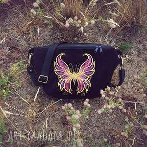 nerki nerka xxl motyl, z haftem, motylek, biodrówka, torebka