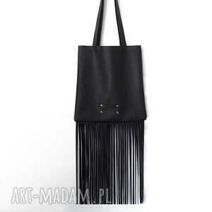 torba z długimi frędzlami skóra naturalna, frędzle, skórzana, torebka, worek, boho