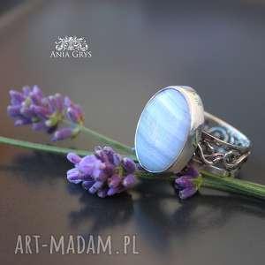 Lawendowy.. pierścionek , chalcedon, pastelowy, pierścionek, gwiazdoo, srebrny