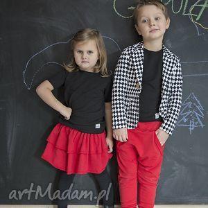 ubranka spodnie czerwone z kangurką, bawełna, spodnie, czerwone, święta, handmade dla