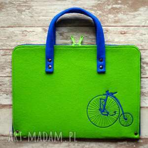 Prezent Filcowa teczka / etui - retro rower, teczka, retro, vintage, prezent, kropki