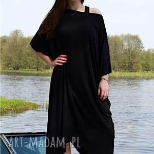 black night -sukienka, luzna, wiskoza, asymetryczna, kimonowa, wygodna, lejąca