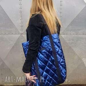 handmade na ramię pikowana torba granatowa pojemna