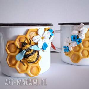 kubki komplet kubków bee, kubek emaliowany, zestaw komplet, pszczoła miód