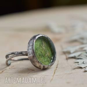Green - pierścionek z prawdziwym mchem pracownia miedzi z-mchem