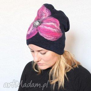 handmade czesanką filcowane czapki wełniane F1, czapka, wełna, zima, merynosy, kwiaty