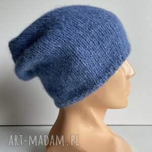 czapki ręcznie robiona czapka hand made alpaka air 16 niebieski