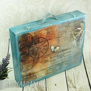 pudełka walizka wspomnień - turkusowe vintage, walizka, pamiątki, drewniana