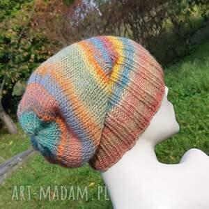 aga made by hand czapka boho melanż krasnal, boho, kolorowa