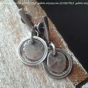 na okrągło kolczyki ze srebra, srebro oksydowane, srebrne koła