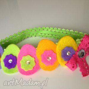 opaska nimowlęca - tęczowe pisanki, filc, prezent, roczek, sesja, ozdoba