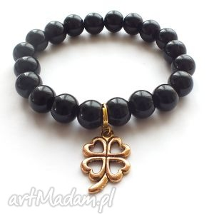 bransoleta black for lucky, koniczyna, perły, zawieszka, charms biżuteria