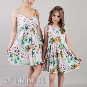 komplet sukienek laura dla mamy i córki, kwiaty, sukienki