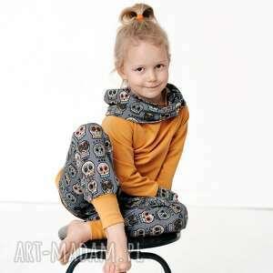bluza dla dziecka z komino-kapturem czachy etno musztarda 116/122, 128/134