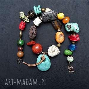 Naszyjnik z minerałów, bajecznie kolorowy boho styl efektowny